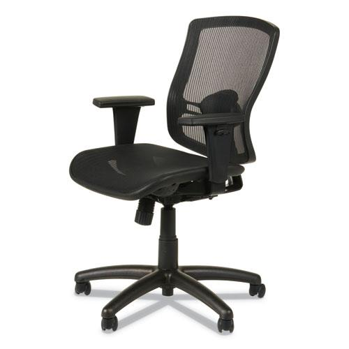 Alera Etros Series Suspension Mesh Mid-Back Synchro Tilt Chair, Supports up to 275 lbs, Black Seat/Black Back, Black Base. Picture 7