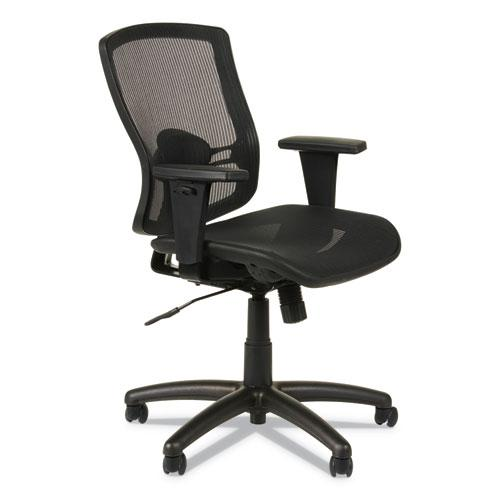 Alera Etros Series Suspension Mesh Mid-Back Synchro Tilt Chair, Supports up to 275 lbs, Black Seat/Black Back, Black Base. Picture 1