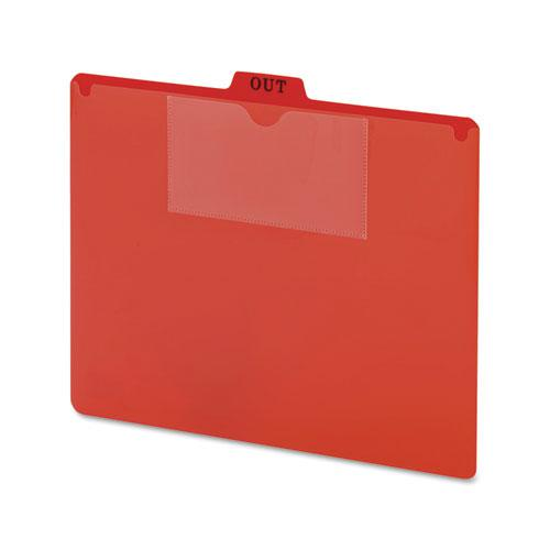 Poly Out Guide, Two-Pocket Style, 1/5-Cut Top Tab, Out, 8.5 x 11, Red, 50/Box. Picture 1