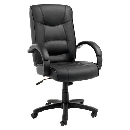 Alera Strada Series High-Back Swivel/Tilt Top-Grain Leather Chair, Supports up to 275 lbs, Black Seat/Black Back, Black Base. Picture 1