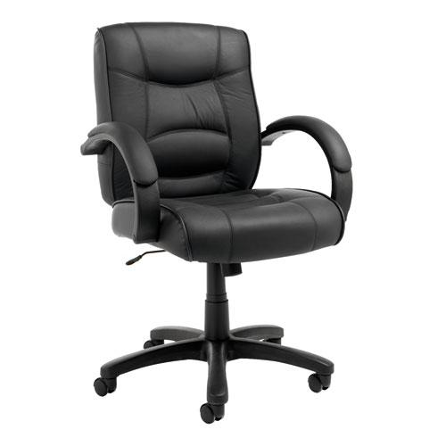 Alera Strada Leather Mid-Back Swivel/Tilt Chair, Supports up to 275 lbs, Black Seat/Black Back, Black Base. Picture 1