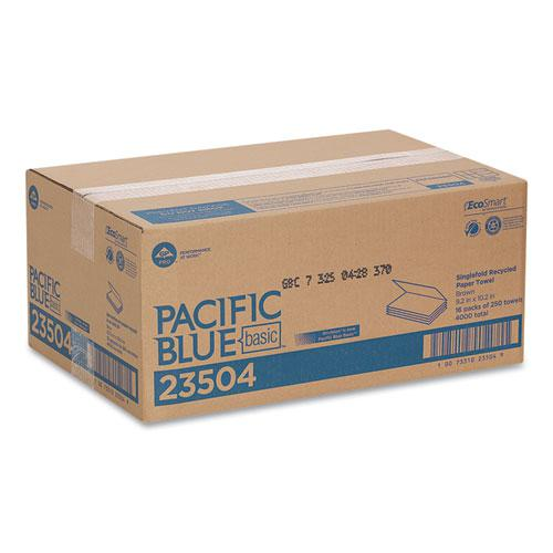 Pacific Blue Basic S-Fold Paper Towels, 10 1/4x9 1/4, Brown, 250/Pack, 16 PK/CT. Picture 5
