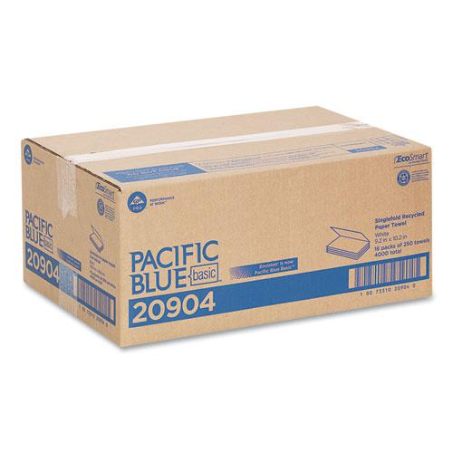 Pacific Blue Basic S-Fold Paper Towels, 10 1/4x9 1/4, White, 250/Pack, 16 PK/CT. Picture 3