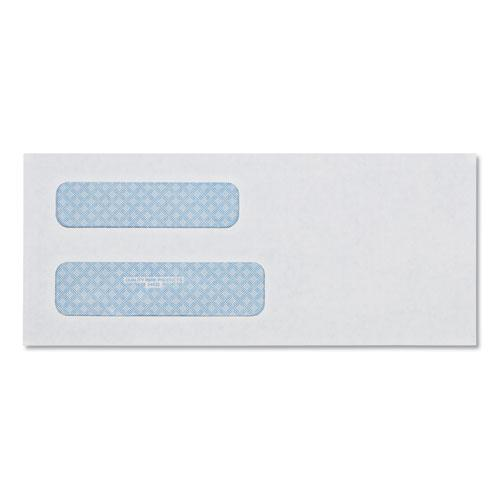 Double Window Security-Tinted Check Envelope, #8 5/8, Commercial Flap, Gummed Closure, 3.63 x 8.63, White, 500/Box. Picture 1