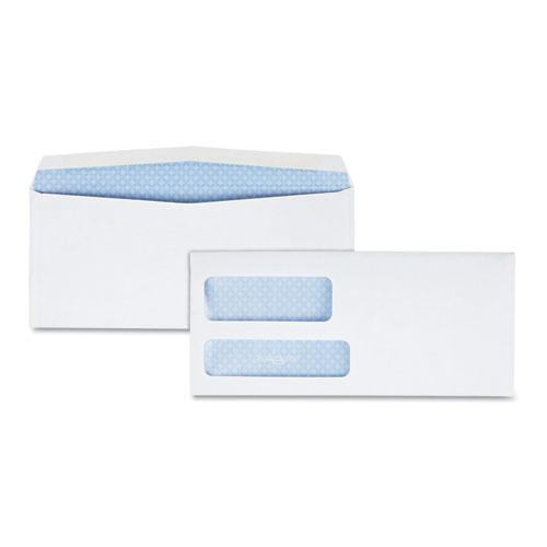 Double Window Security-Tinted Check Envelope, #9, Commercial Flap, Gummed Closure, 3.88 x 8.88, White, 500/Box. Picture 1