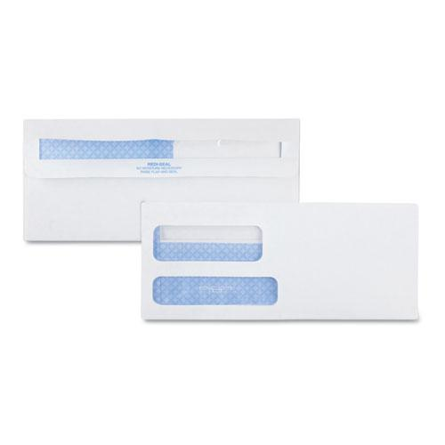 Double Window Redi-Seal Security-Tinted Envelope, #9, Commercial Flap, Redi-Seal Closure, 3.88 x 8.88, White, 500/Box. Picture 1