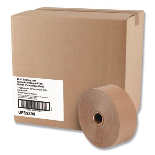 "Gummed Kraft Sealing Tape, 3"" Core, 3"" x 600 ft, Brown, 10/Carton. Picture 1"