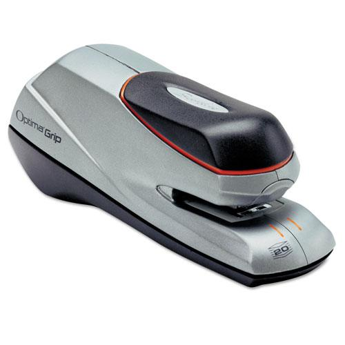 Optima Grip Electric Stapler, 20-Sheet Capacity, Black/Silver. Picture 2