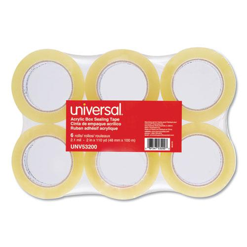 """Deluxe General-Purpose Acrylic Box Sealing Tape, 3"""" Core, 1.88"""" x 110 yds, Clear, 6/Pack. Picture 2"""
