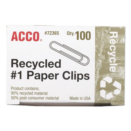 Recycled Paper Clips, Medium (No. 1), Silver, 100/Box, 10 Boxes/Pack. Picture 2
