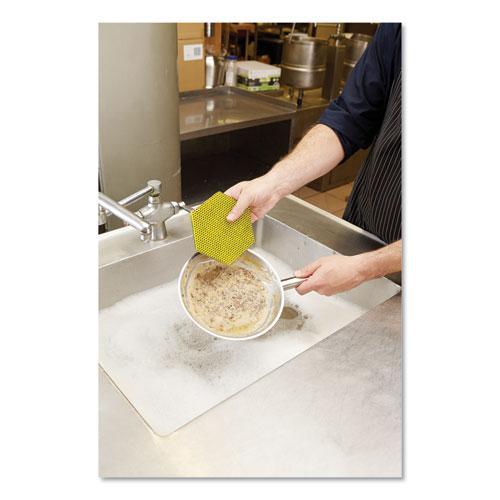 "Dual Purpose Scour Pad, 5"" x 5"", Gray/Yellow, 15/Carton. Picture 4"