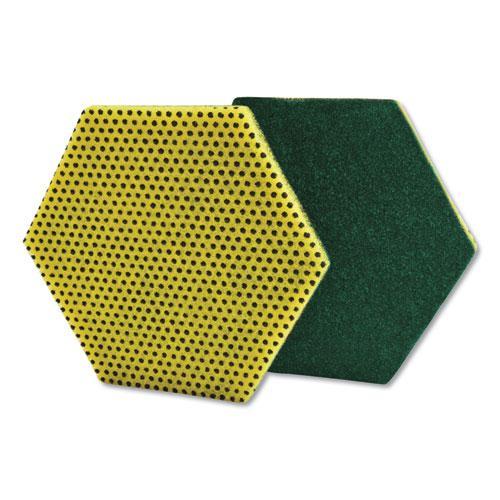 "Dual Purpose Scour Pad, 5"" x 5"", Gray/Yellow, 15/Carton. Picture 1"