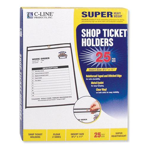 Shop Ticket Holders, Stitched, Both Sides Clear, 50 Sheets, 8 1/2 x 11, 25/Box. Picture 2