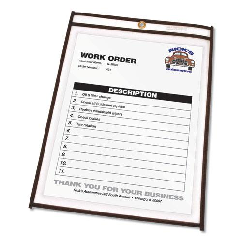 Shop Ticket Holders, Stitched, Both Sides Clear, 50 Sheets, 8 1/2 x 11, 25/Box. Picture 3