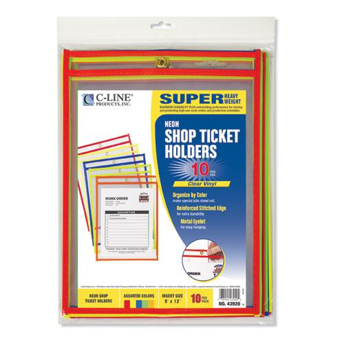"Stitched Shop Ticket Holders, Neon, Assorted 5 Colors, 75"", 9 x 12, 10/Pack. Picture 5"