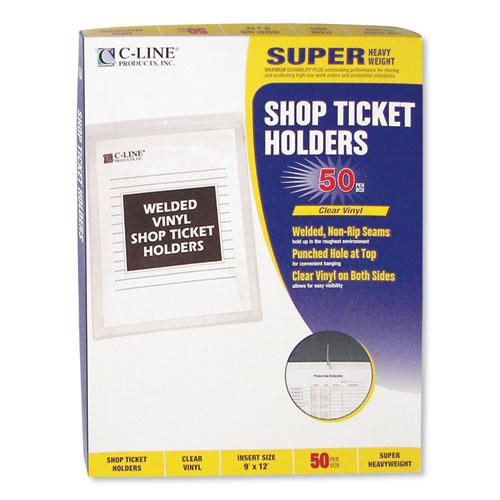 Clear Vinyl Shop Ticket Holders, Both Sides Clear, 50 Sheets, 9 x 12, 50/Box. Picture 3