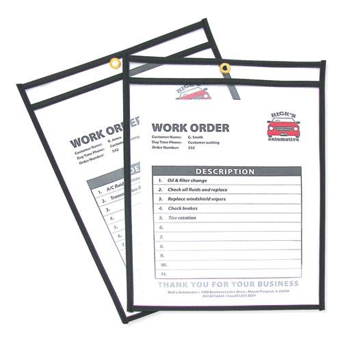 Shop Ticket Holders, Stitched, Both Sides Clear, 75 Sheets, 9 x 12, 25/Box. Picture 1