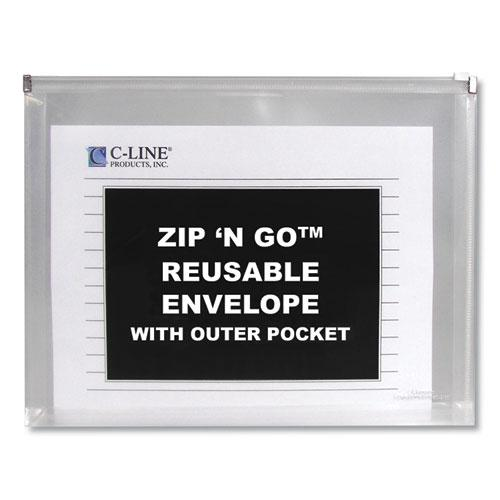 Zip n Go Reusable Envelope w/Outer Pocket, 13 x 10, Clear, 3/Pack. Picture 3