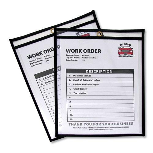 Shop Ticket Holders, Stitched, Both Sides Clear, 50 Sheets, 8 1/2 x 11, 25/Box. Picture 1