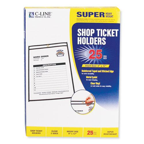 Shop Ticket Holders, Stitched, Both Sides Clear, 75 Sheets, 9 x 12, 25/Box. Picture 2
