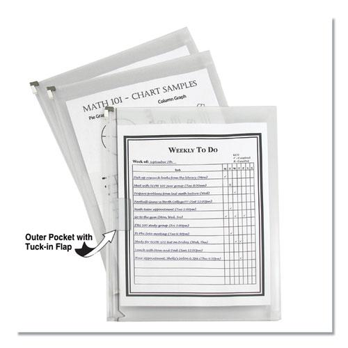 Zip n Go Reusable Envelope w/Outer Pocket, 13 x 10, Clear, 3/Pack. The main picture.