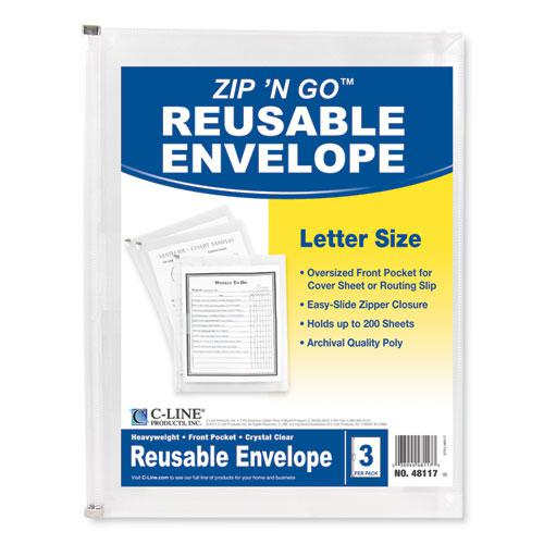 Zip n Go Reusable Envelope w/Outer Pocket, 13 x 10, Clear, 3/Pack. Picture 2