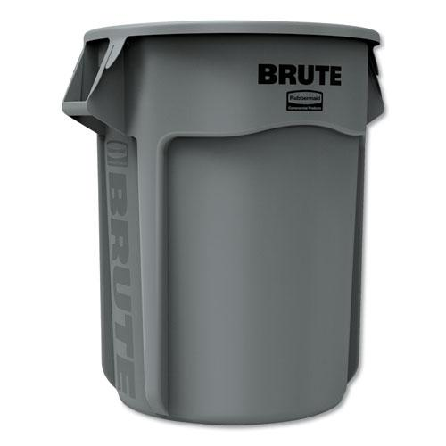 Round Brute Container, Plastic, 55 gal, Gray. Picture 1