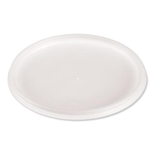 Plastic Lids for Foam Cups, Bowls and Containers, Flat, Vented, Fits 12-60 oz, Translucent, 500/Carton. Picture 1