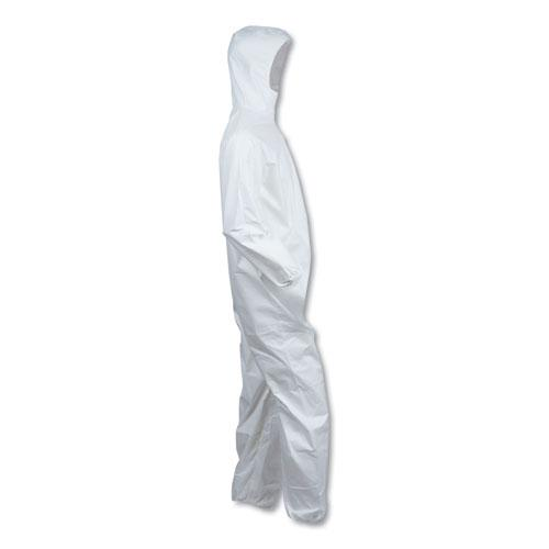 A40 Elastic-Cuff & Ankle Hooded Coveralls, White, Large, 25/Carton. Picture 5