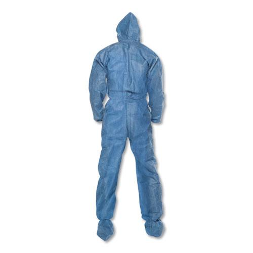 A60 Blood and Chemical Splash Protection Coveralls, 3X-Large, Blue, 20/Carton. Picture 2