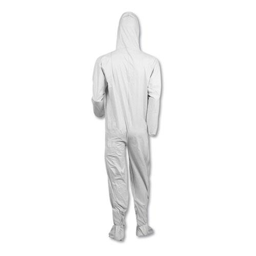 A40 Elastic-Cuff, Ankle, Hood and Boot Coveralls, Large, White, 25/Carton. Picture 3