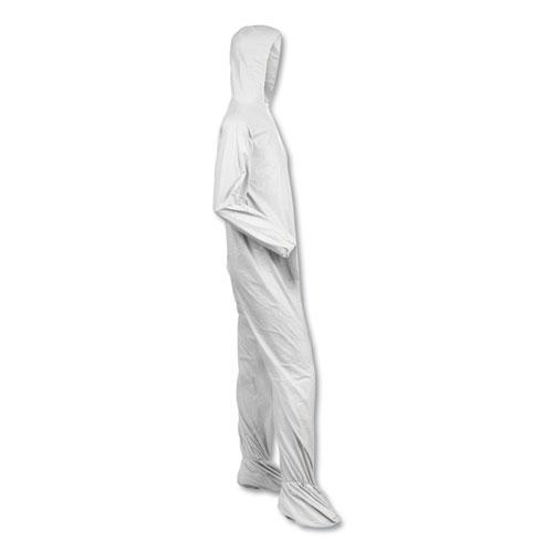 A40 Elastic-Cuff, Ankle, Hood and Boot Coveralls, Large, White, 25/Carton. Picture 2