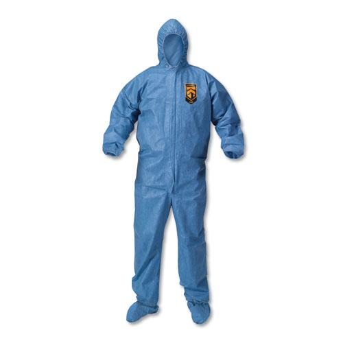 A60 Blood and Chemical Splash Protection Coveralls, 3X-Large, Blue, 20/Carton. Picture 1
