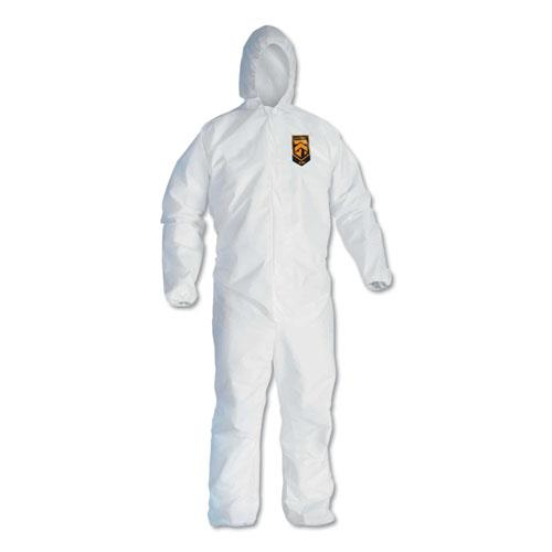 A40 Elastic-Cuff & Ankle Hooded Coveralls, White, Large, 25/Carton. Picture 1