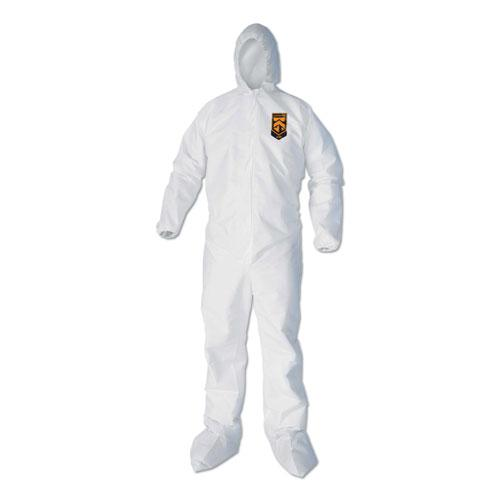 A40 Elastic-Cuff, Ankle, Hood and Boot Coveralls, Large, White, 25/Carton. Picture 1