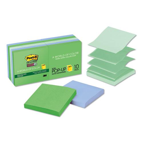 Pop-up Recycled Notes in Bora Bora Colors, 3 x 3, 90-Sheet, 10/Pack. Picture 1
