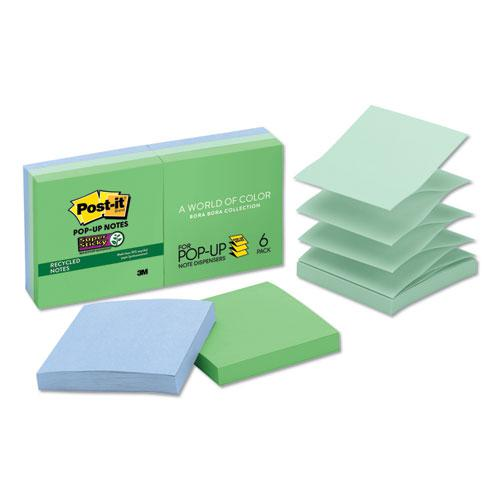 Pop-up Recycled Notes in Bora Bora Colors, 3 x 3, 90-Sheet, 6/Pack. Picture 1