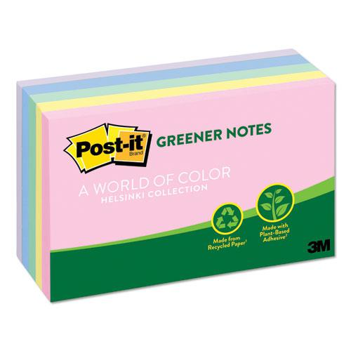 Recycled Note Pads, 3 x 5, Assorted Helsinki Colors, 100-Sheet, 5/Pack. Picture 2