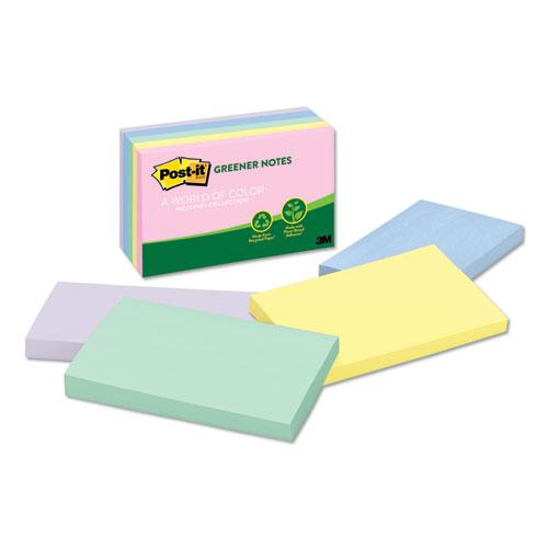 Recycled Note Pads, 3 x 5, Assorted Helsinki Colors, 100-Sheet, 5/Pack. Picture 1