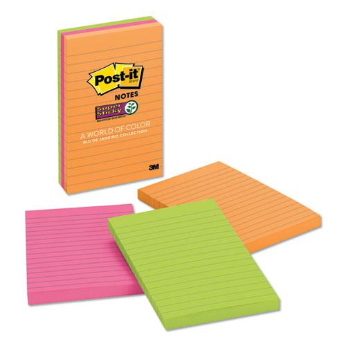 Pads in Rio de Janeiro Colors, Lined, 4 x 6, 90-Sheet Pads, 3/Pack. Picture 1