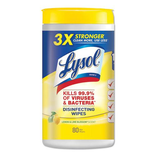 Disinfecting Wipes, 7 x 8, Lemon and Lime Blossom, 80 Wipes/Canister, 6 Canisters/Carton. Picture 1