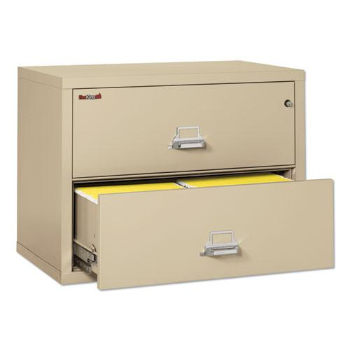 Two-Drawer Lateral File, 37.5w x 22.13d x 27.75h, UL Listed 350 Degree, Letter/Legal, Parchment. Picture 3