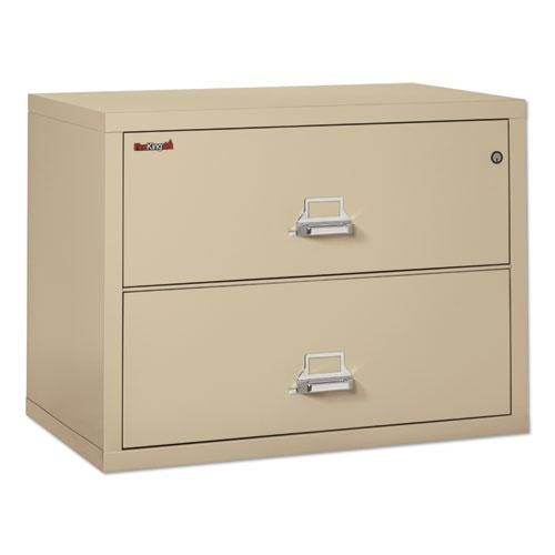 Two-Drawer Lateral File, 37.5w x 22.13d x 27.75h, UL Listed 350 Degree, Letter/Legal, Parchment. Picture 2