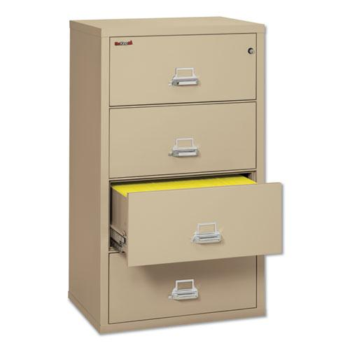 Four-Drawer Lateral File, 31.13w x 22.13d x 52.75h, UL Listed 350°, Letter/Legal, Parchment. Picture 1