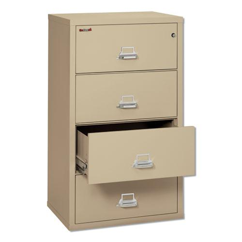 Four-Drawer Lateral File, 31.13w x 22.13d x 52.75h, UL Listed 350°, Letter/Legal, Parchment. Picture 2