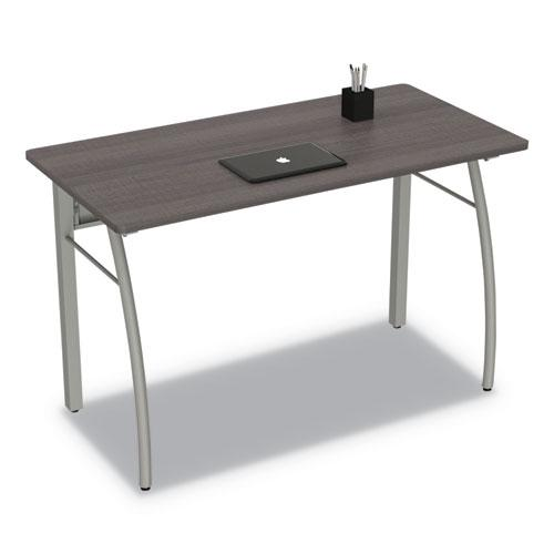 Trento Line Rectangular Desk, 47.25w x 23.63d x 29.5h, Mocha/Gray