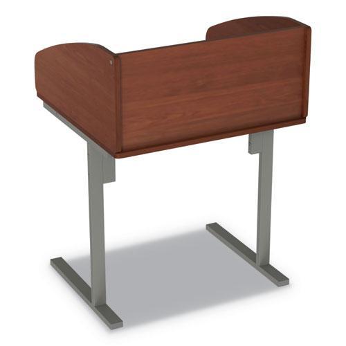 Study Carrell Starter Unit, 2-Leg, 31.25 x 23.5 x 45.25, Cherry. Picture 7