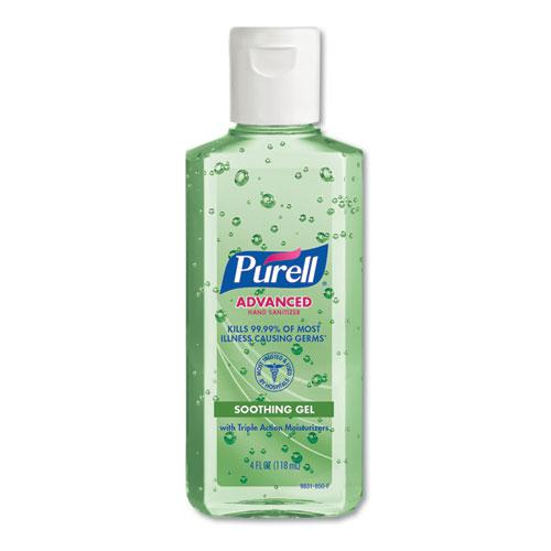 Advanced Hand Sanitizer Soothing Gel, Fresh Scent with Aloe and Vitamin E, Flip-Cap Bottle, 4 oz, 24/Carton. Picture 1