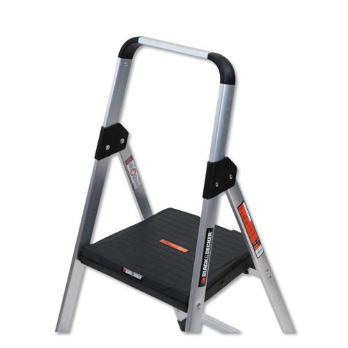 Aluminum Step Stool Ladder, 2-Step, 225 lb Capacity, 18.5w x 23.5 spread x 38.5h, Silver. Picture 2