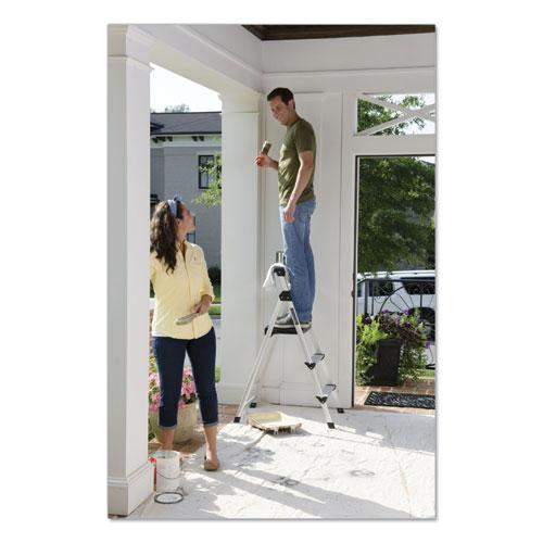 Aluminum Step Stool Ladder, 3-Step, 225 lb Capacity, 20w x 31 spread x 47h, Silver. Picture 3
